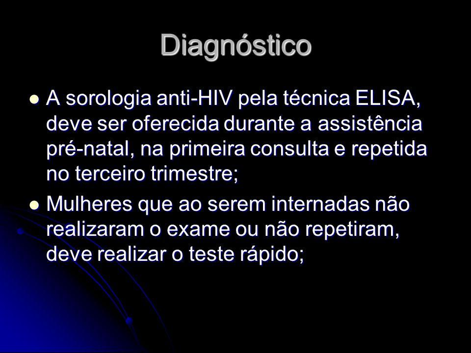 Diagnóstico A sorologia anti-HIV pela técnica ELISA, deve ser oferecida durante a assistência pré-natal, na primeira consulta e repetida no terceiro t