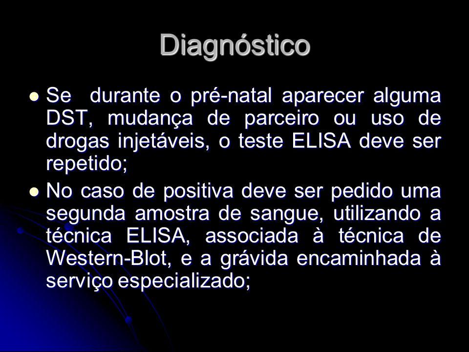 Diagnóstico Se durante o pré-natal aparecer alguma DST, mudança de parceiro ou uso de drogas injetáveis, o teste ELISA deve ser repetido; Se durante o