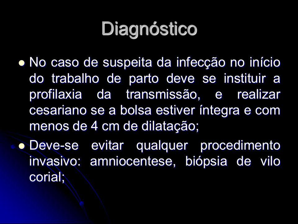 Diagnóstico No caso de suspeita da infecção no início do trabalho de parto deve se instituir a profilaxia da transmissão, e realizar cesariano se a bo