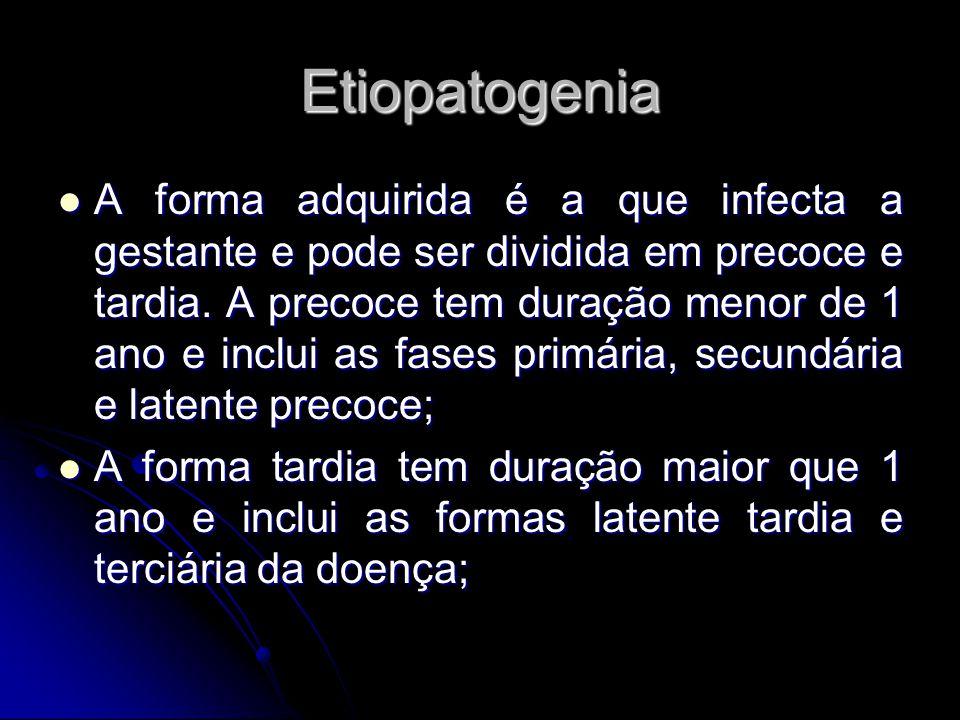 Etiopatogenia A forma adquirida é a que infecta a gestante e pode ser dividida em precoce e tardia. A precoce tem duração menor de 1 ano e inclui as f