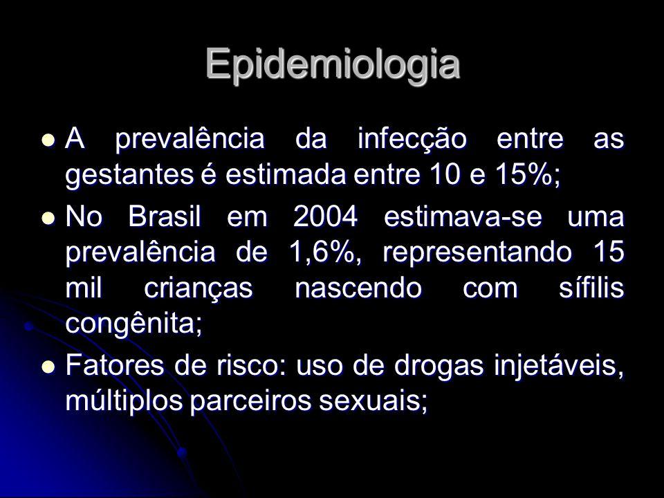 Epidemiologia A prevalência da infecção entre as gestantes é estimada entre 10 e 15%; A prevalência da infecção entre as gestantes é estimada entre 10