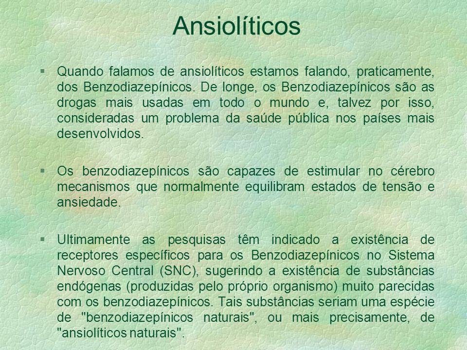 Ansiolíticos §Existem medicamentos que capazes de atuar sobre a ansiedade e tensão.. Atualmente, estes tipos de medicamentos são denominados de ansiol