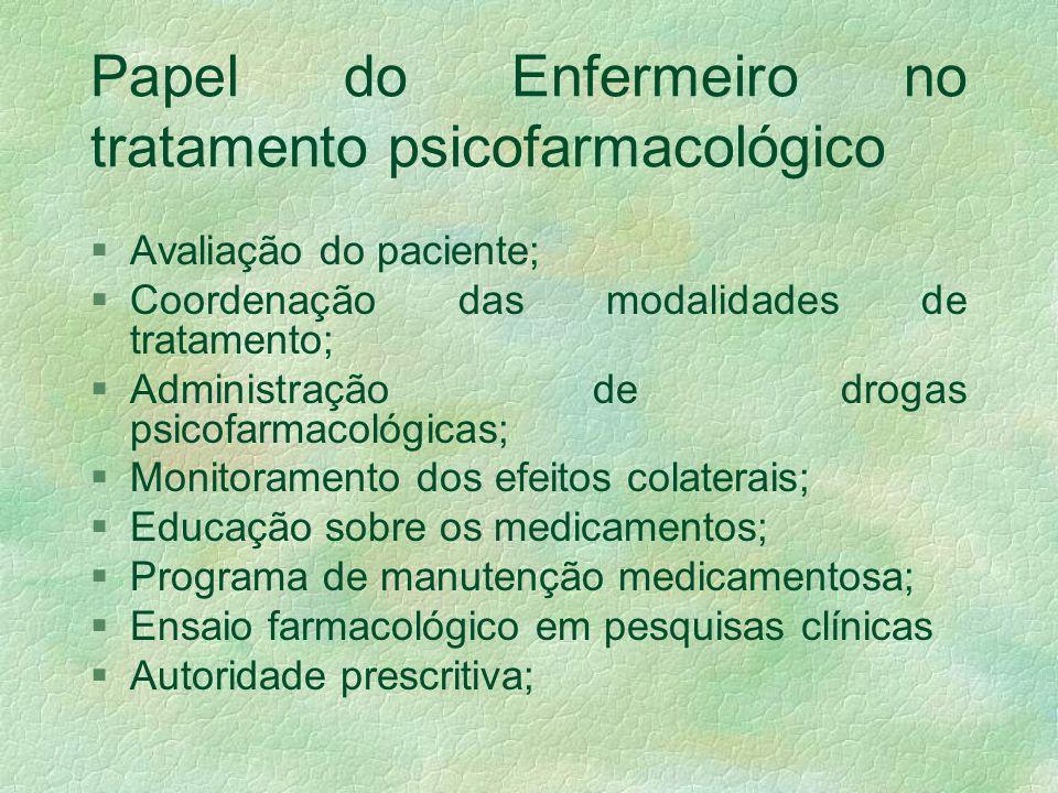 Consideração sobre os medicamentos psiquiátricos §O tratamento psicofarmacológico deve ser integrado aos princípios da prática da enfermagem psiquiátr