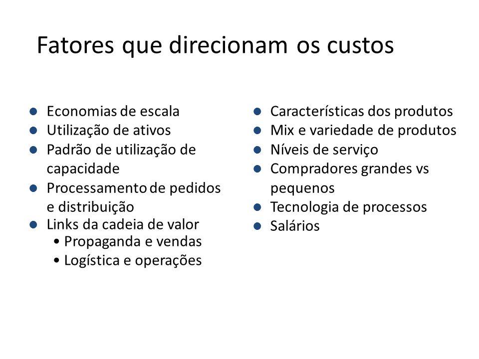 l Características dos produtos l Mix e variedade de produtos l Níveis de serviço l Compradores grandes vs pequenos l Tecnologia de processos l Salário