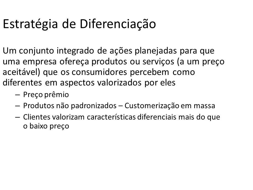 Estratégia de Diferenciação Um conjunto integrado de ações planejadas para que uma empresa ofereça produtos ou serviços (a um preço aceitável) que os