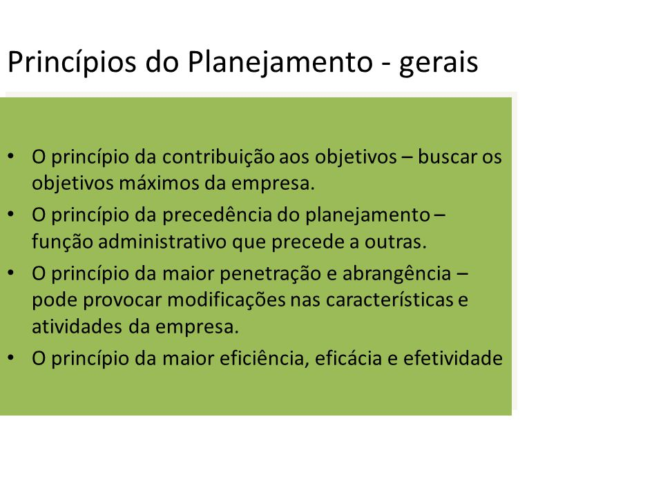 Princípios do Planejamento - gerais O princípio da contribuição aos objetivos – buscar os objetivos máximos da empresa. O princípio da precedência do