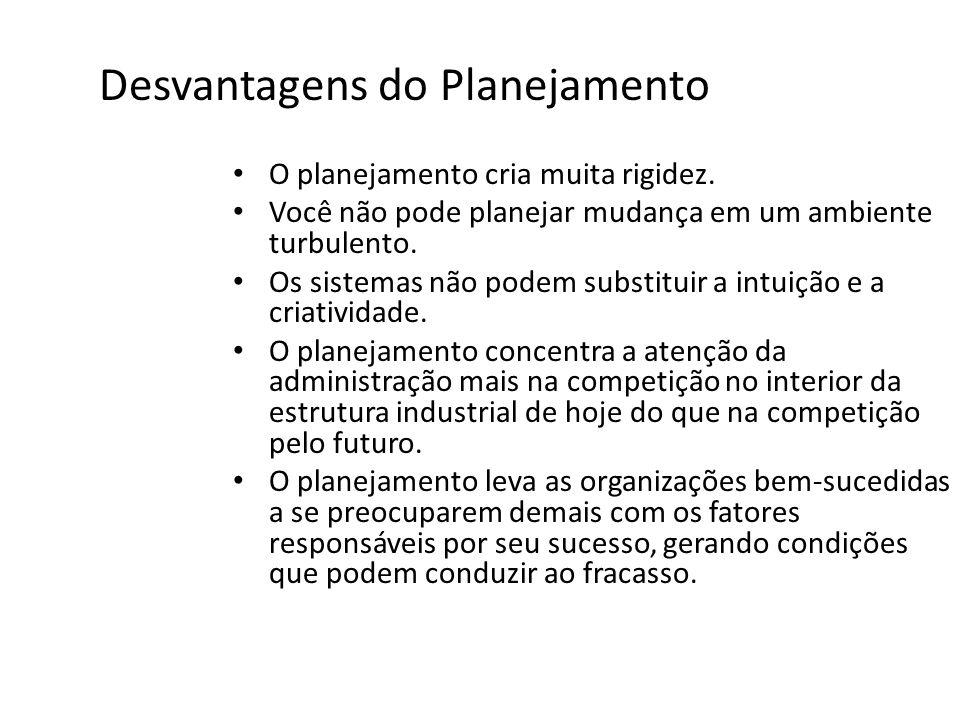 Desvantagens do Planejamento O planejamento cria muita rigidez. Você não pode planejar mudança em um ambiente turbulento. Os sistemas não podem substi