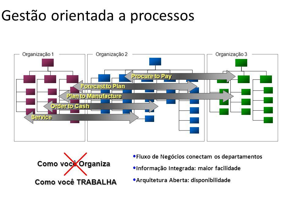 Organização 2 Organização 3 Organização 1 Como você Organiza Como você TRABALHA Order to Cash Service Procure to Pay Gestão orientada a processos Fore