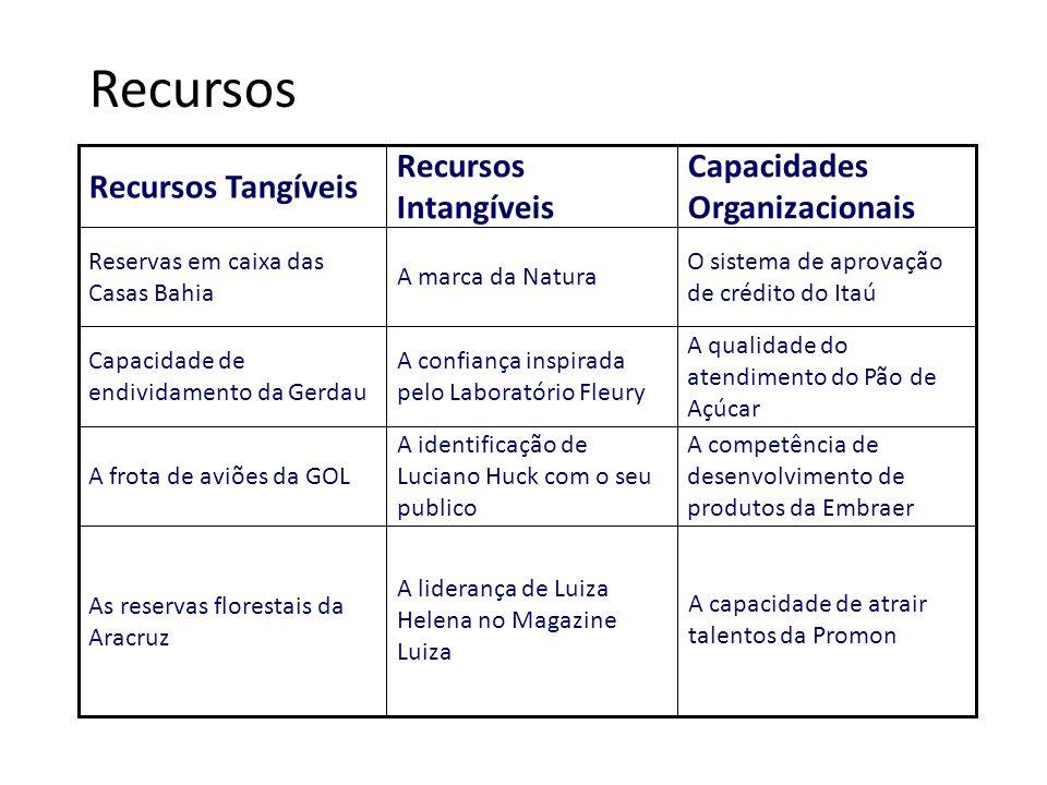 Recursos A capacidade de atrair talentos da Promon A liderança de Luiza Helena no Magazine Luiza As reservas florestais da Aracruz A competência de de