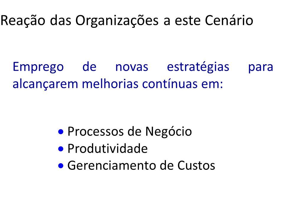Emprego de novas estratégias para alcançarem melhorias contínuas em: Processos de Negócio Produtividade Gerenciamento de Custos Reação das Organizaçõe