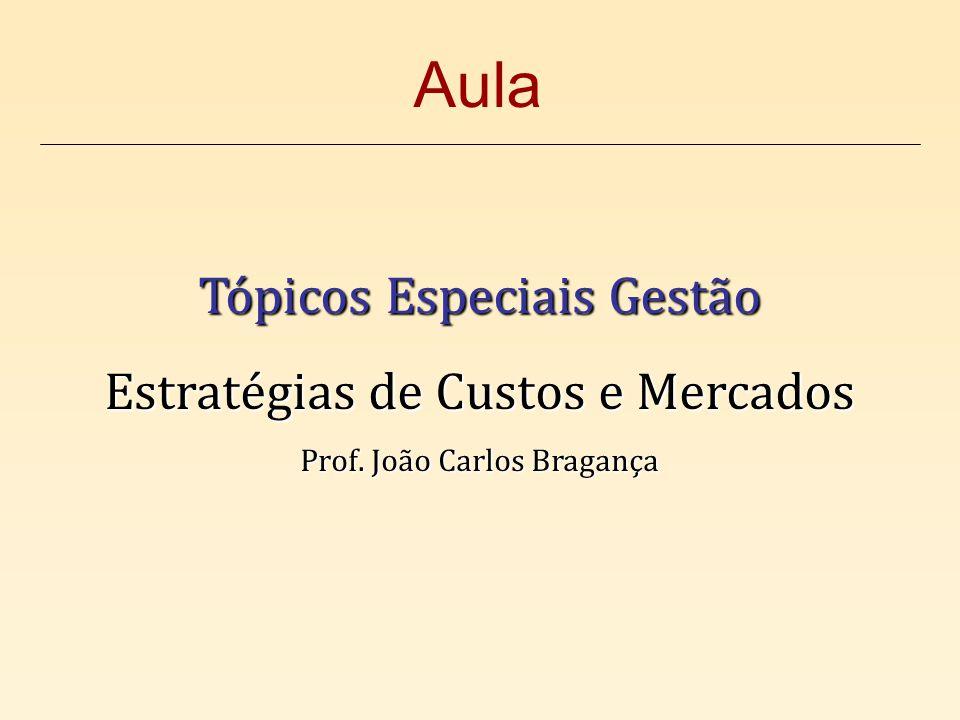 Tópicos Especiais Gestão Estratégias de Custos e Mercados Prof. João Carlos Bragança Aula