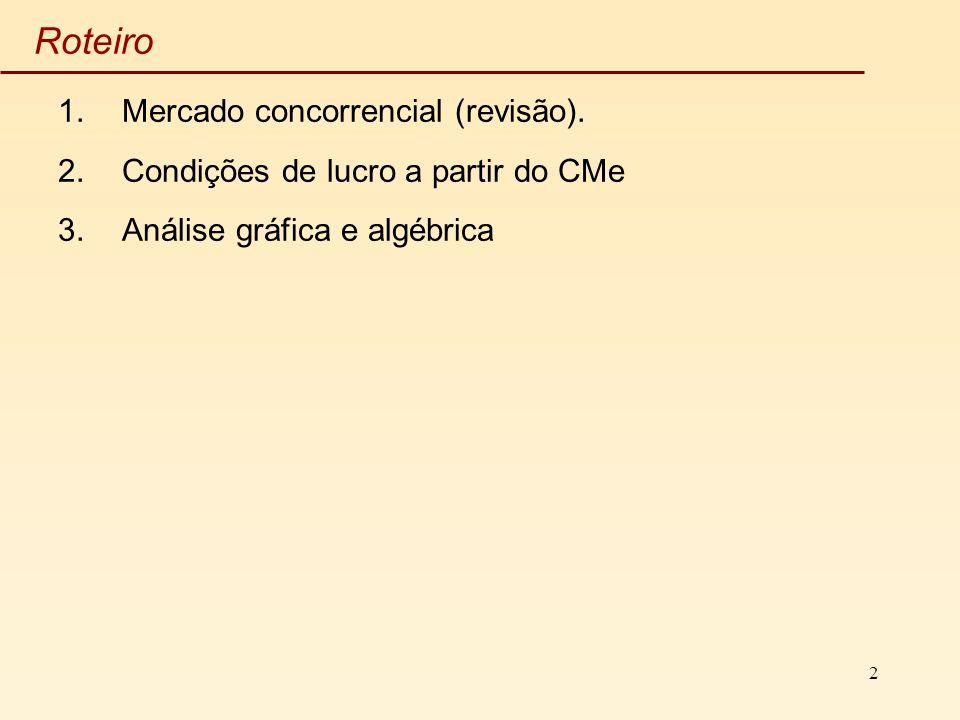 2 Roteiro 1.Mercado concorrencial (revisão). 2.Condições de lucro a partir do CMe 3.Análise gráfica e algébrica