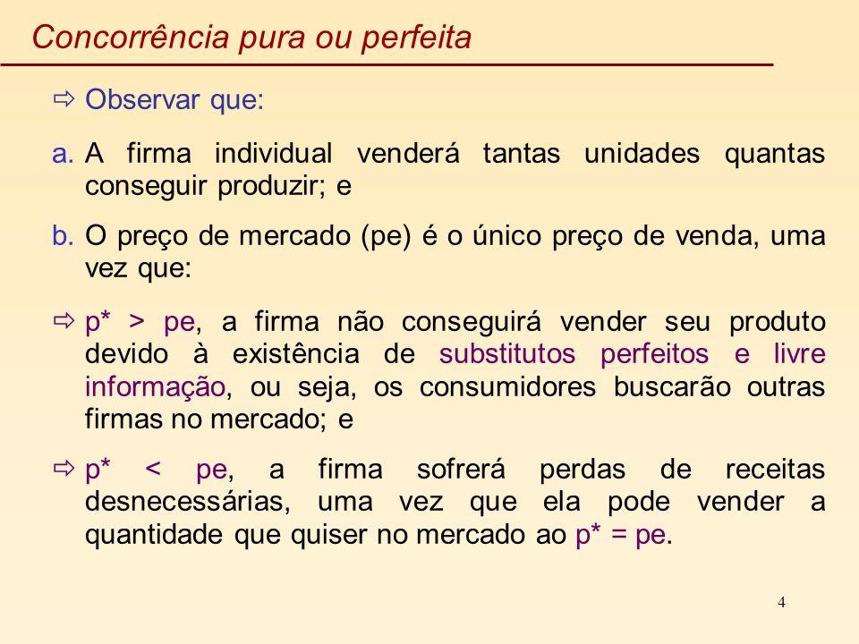 4 Concorrência pura ou perfeita Observar que: a.A firma individual venderá tantas unidades quantas conseguir produzir; e b.O preço de mercado (pe) é o