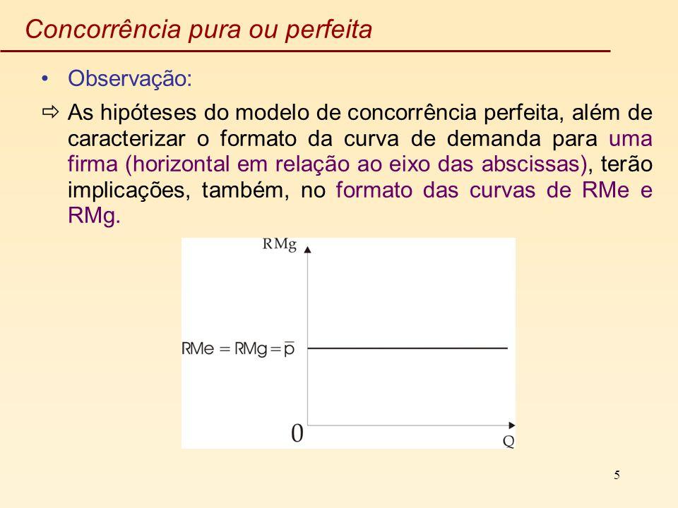 5 Concorrência pura ou perfeita Observação: As hipóteses do modelo de concorrência perfeita, além de caracterizar o formato da curva de demanda para u