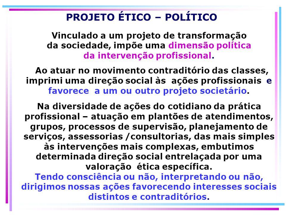 Vinculado a um projeto de transformação da sociedade, impõe uma dimensão política da intervenção profissional. Ao atuar no movimento contraditório das
