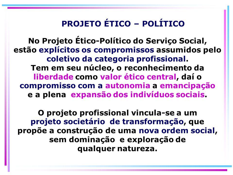 No Projeto Ético-Político do Serviço Social, estão explícitos os compromissos assumidos pelo coletivo da categoria profissional. Tem em seu núcleo, o