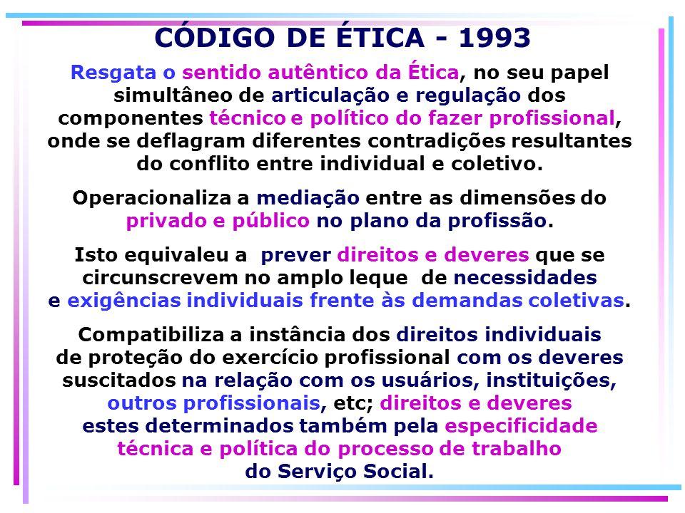 Resgata o sentido autêntico da Ética, no seu papel simultâneo de articulação e regulação dos componentes técnico e político do fazer profissional, ond