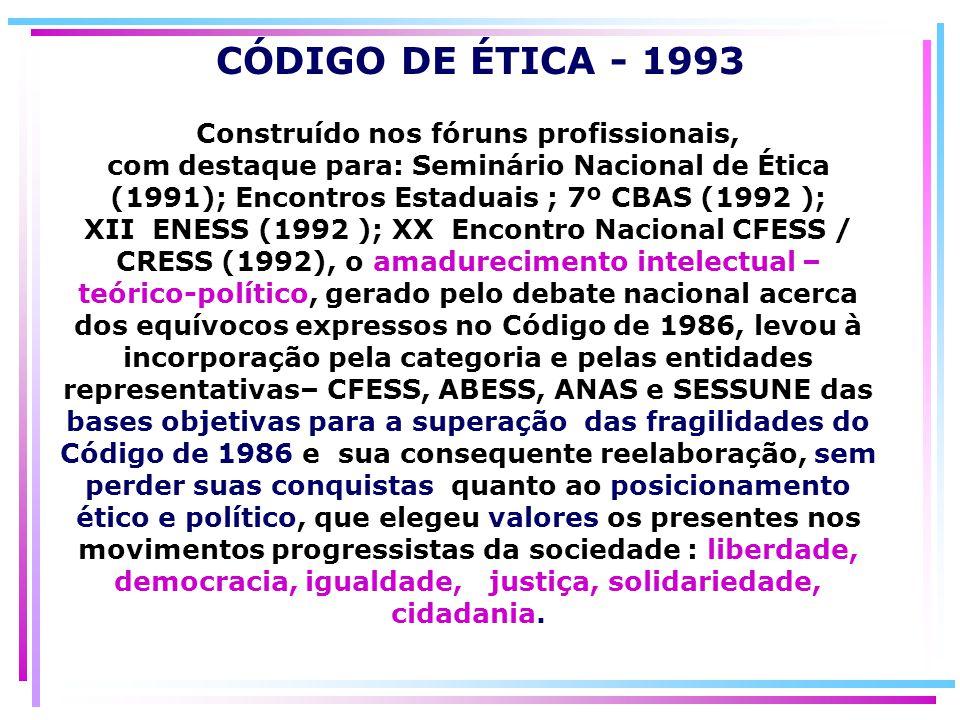 Construído nos fóruns profissionais, com destaque para: Seminário Nacional de Ética (1991); Encontros Estaduais ; 7º CBAS (1992 ); XII ENESS (1992 );