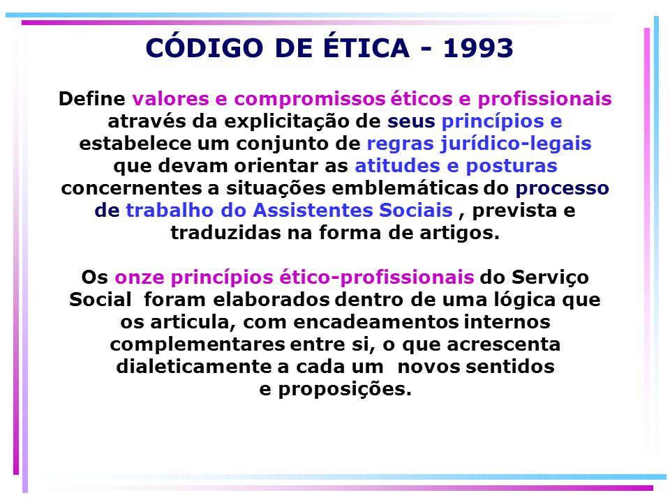 Define valores e compromissos éticos e profissionais através da explicitação de seus princípios e estabelece um conjunto de regras jurídico-legais que