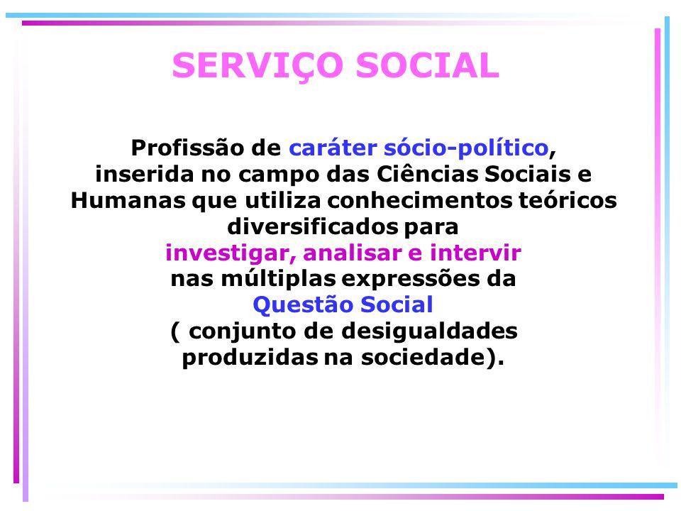SERVIÇO SOCIAL Profissão de caráter sócio-político, inserida no campo das Ciências Sociais e Humanas que utiliza conhecimentos teóricos diversificados