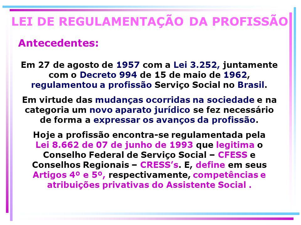 LEI DE REGULAMENTAÇÃO DA PROFISSÃO Antecedentes: Em 27 de agosto de 1957 com a Lei 3.252, juntamente com o Decreto 994 de 15 de maio de 1962, regulame