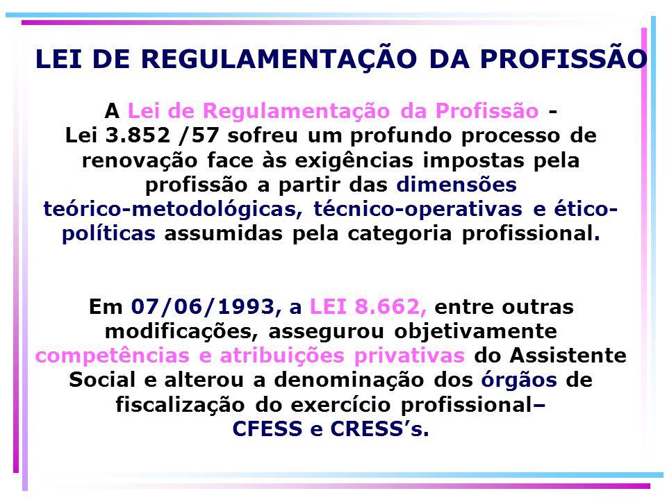 LEI DE REGULAMENTAÇÃO DA PROFISSÃO A Lei de Regulamentação da Profissão - Lei 3.852 /57 sofreu um profundo processo de renovação face às exigências im