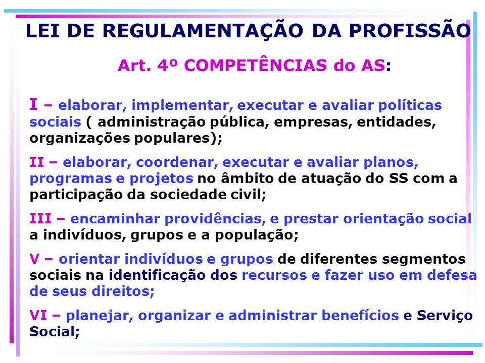 LEI DE REGULAMENTAÇÃO DA PROFISSÃO Art. 4º COMPETÊNCIAS do AS: I – elaborar, implementar, executar e avaliar políticas sociais ( administração pública