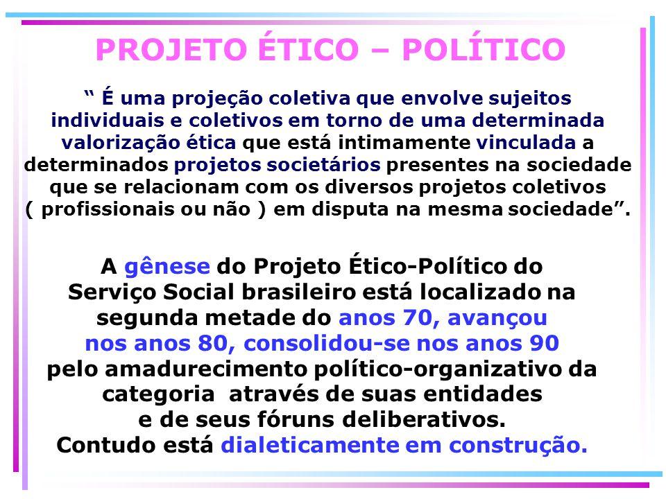 PROJETO ÉTICO – POLÍTICO É uma projeção coletiva que envolve sujeitos individuais e coletivos em torno de uma determinada valorização ética que está i