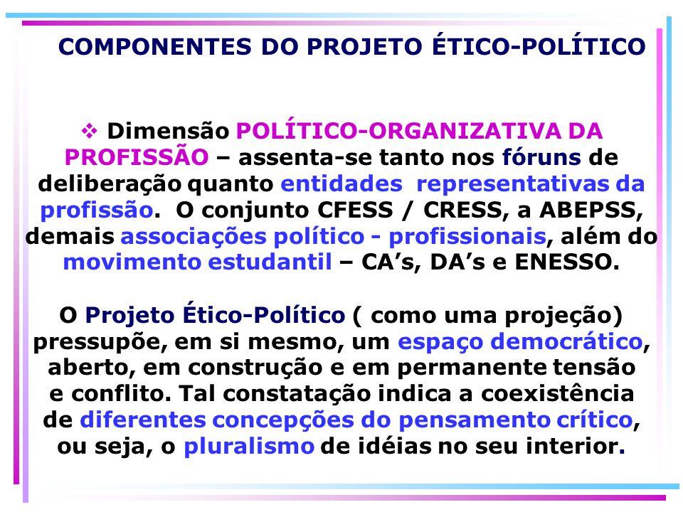 COMPONENTES DO PROJETO ÉTICO-POLÍTICO Dimensão POLÍTICO-ORGANIZATIVA DA PROFISSÃO – assenta-se tanto nos fóruns de deliberação quanto entidades repres