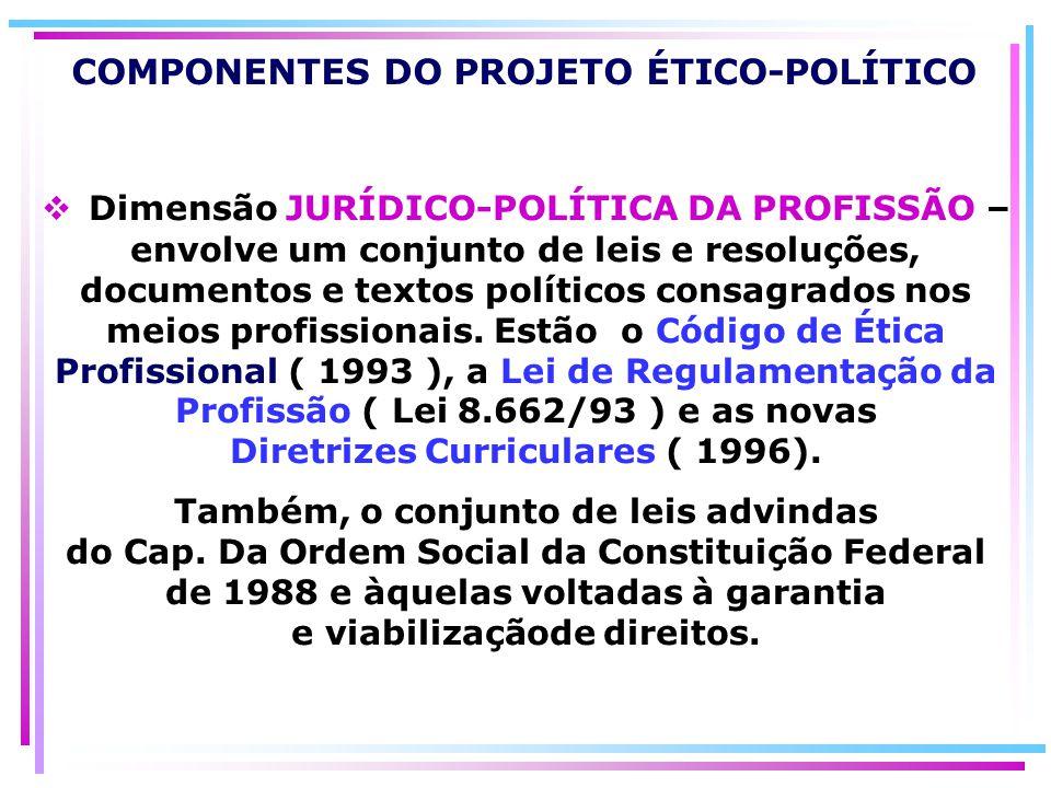 COMPONENTES DO PROJETO ÉTICO-POLÍTICO Dimensão JURÍDICO-POLÍTICA DA PROFISSÃO – envolve um conjunto de leis e resoluções, documentos e textos político
