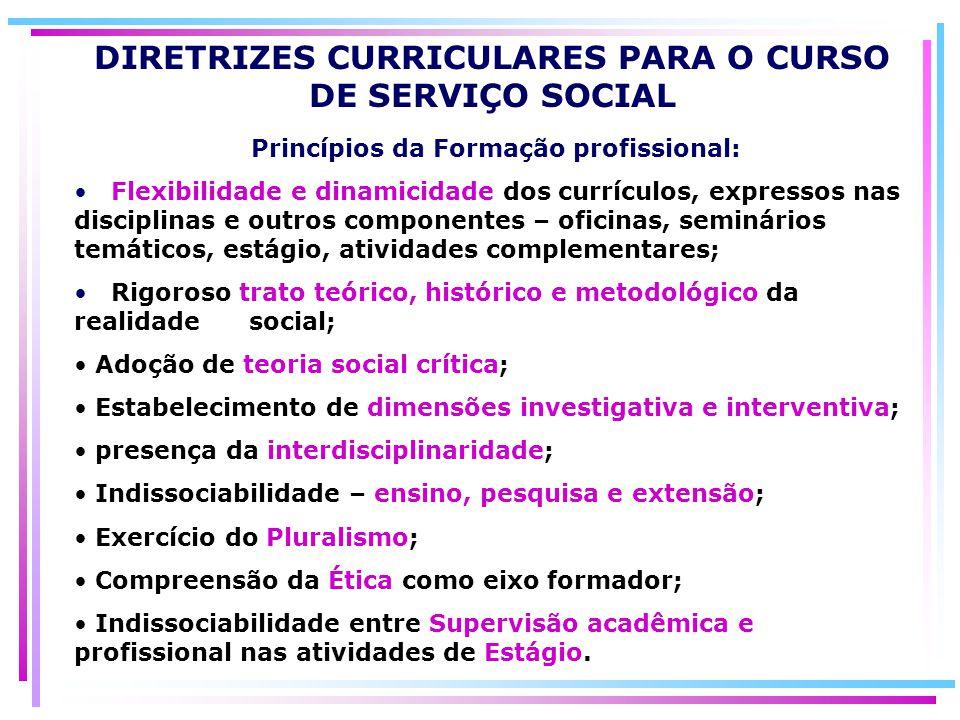 Princípios da Formação profissional: Flexibilidade e dinamicidade dos currículos, expressos nas disciplinas e outros componentes – oficinas, seminário