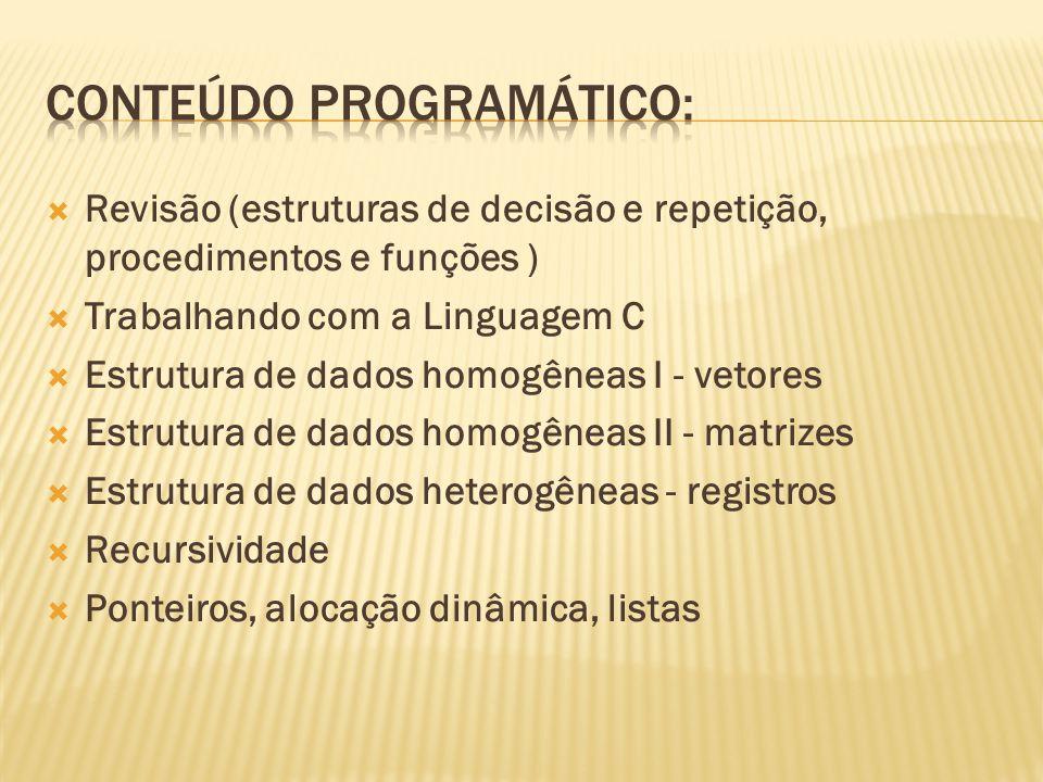 Revisão (estruturas de decisão e repetição, procedimentos e funções ) Trabalhando com a Linguagem C Estrutura de dados homogêneas I - vetores Estrutur