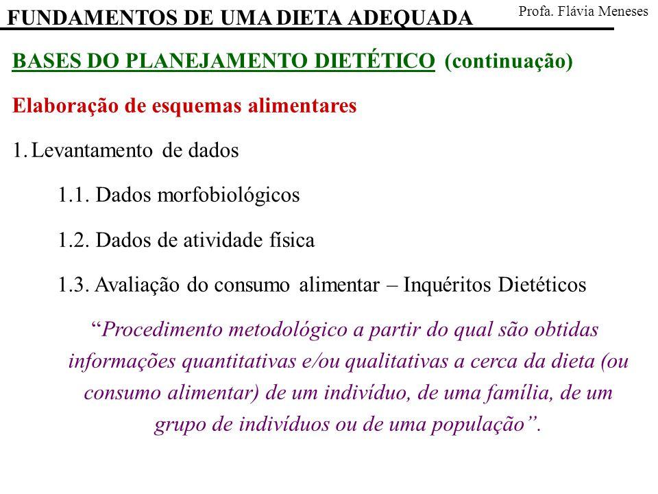 BASES DO PLANEJAMENTO DIETÉTICO (continuação) Elaboração de esquemas alimentares 1.Levantamento de dados 1.1. Dados morfobiológicos 1.2. Dados de ativ
