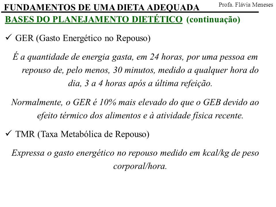 FUNDAMENTOS DE UMA DIETA ADEQUADA Profa. Flávia Meneses BASES DO PLANEJAMENTO DIETÉTICO (continuação) GER (Gasto Energético no Repouso) É a quantidade