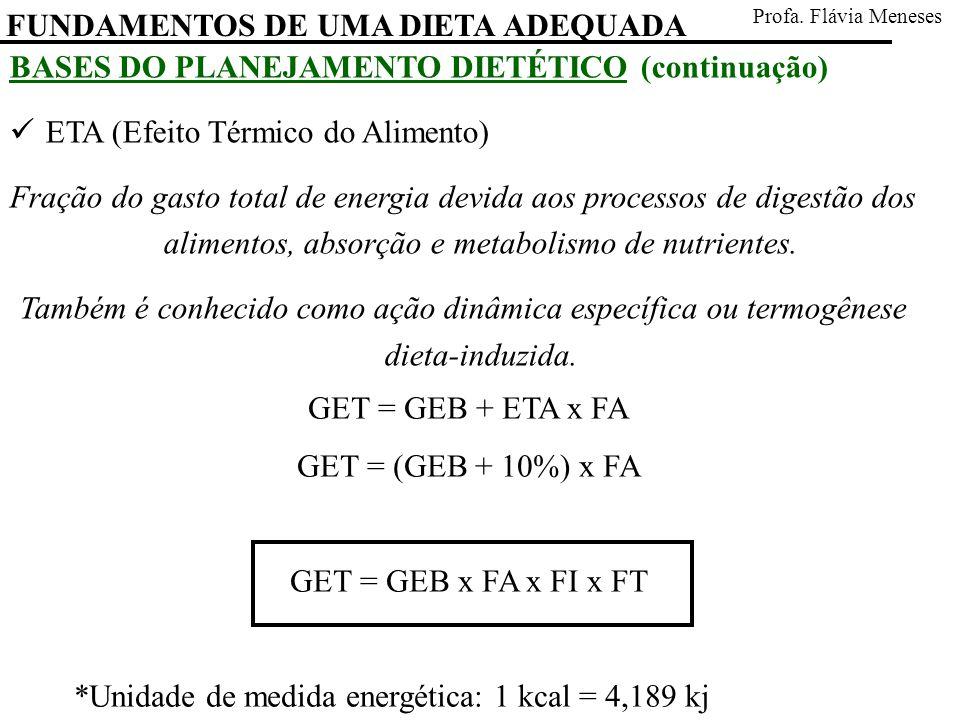 FUNDAMENTOS DE UMA DIETA ADEQUADA Profa. Flávia Meneses BASES DO PLANEJAMENTO DIETÉTICO (continuação) ETA (Efeito Térmico do Alimento) Fração do gasto