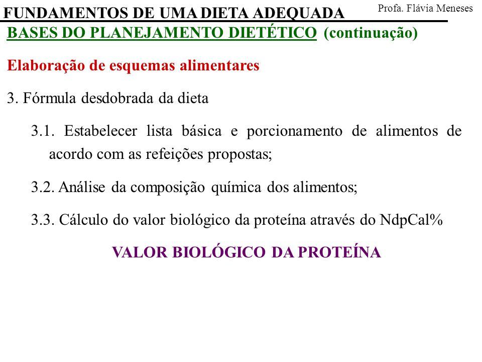 FUNDAMENTOS DE UMA DIETA ADEQUADA Profa. Flávia Meneses BASES DO PLANEJAMENTO DIETÉTICO (continuação) Elaboração de esquemas alimentares 3. Fórmula de
