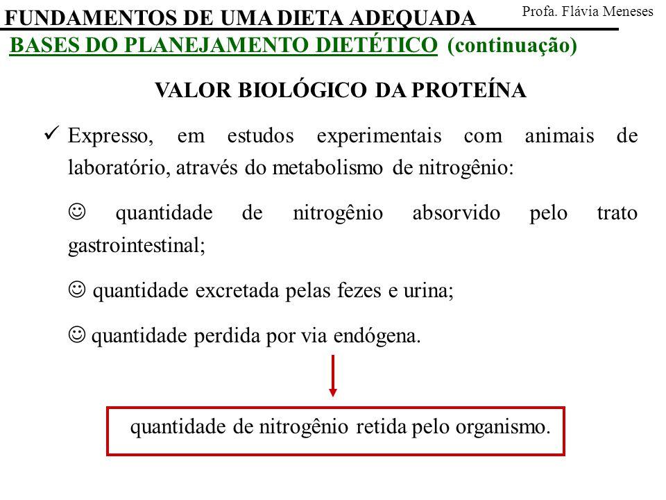 FUNDAMENTOS DE UMA DIETA ADEQUADA Profa. Flávia Meneses BASES DO PLANEJAMENTO DIETÉTICO (continuação) VALOR BIOLÓGICO DA PROTEÍNA Expresso, em estudos