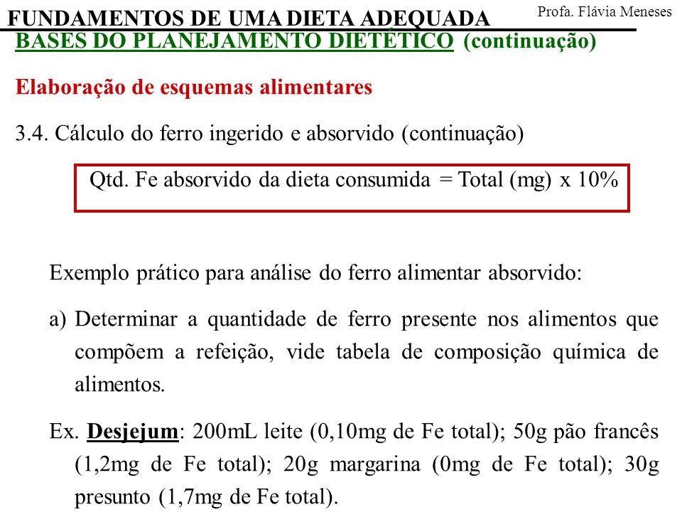 FUNDAMENTOS DE UMA DIETA ADEQUADA Profa. Flávia Meneses BASES DO PLANEJAMENTO DIETÉTICO (continuação) Elaboração de esquemas alimentares 3.4. Cálculo