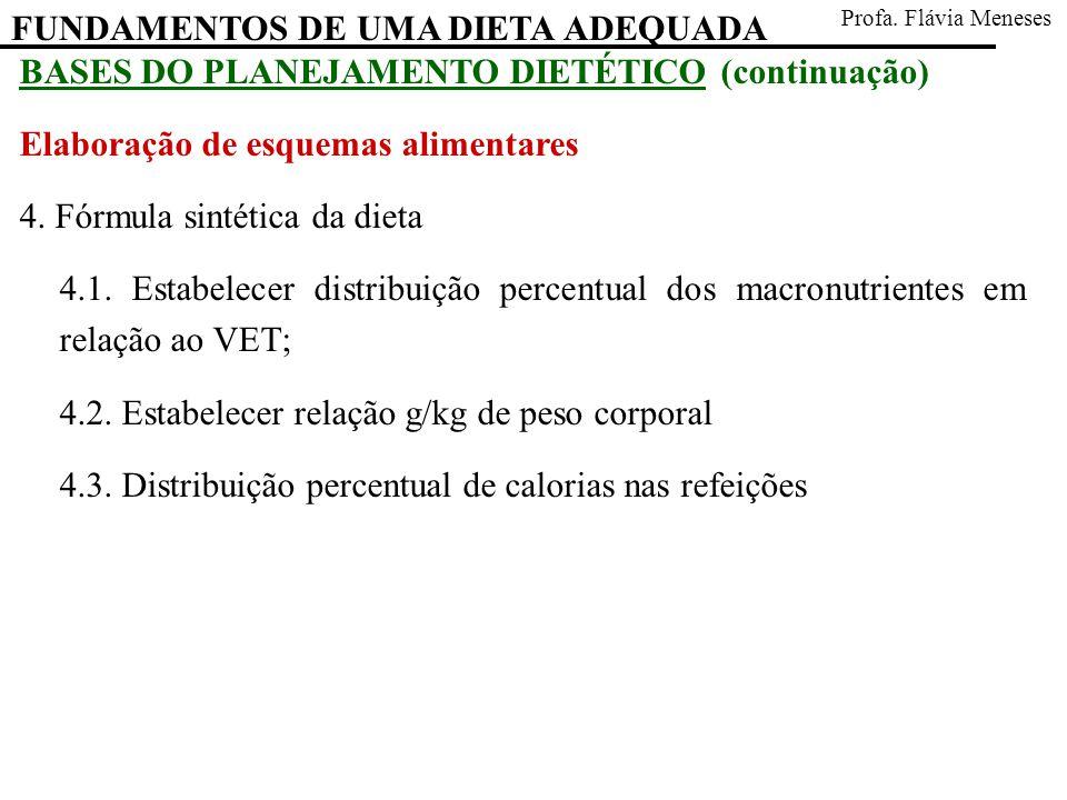 FUNDAMENTOS DE UMA DIETA ADEQUADA Profa. Flávia Meneses BASES DO PLANEJAMENTO DIETÉTICO (continuação) Elaboração de esquemas alimentares 4. Fórmula si
