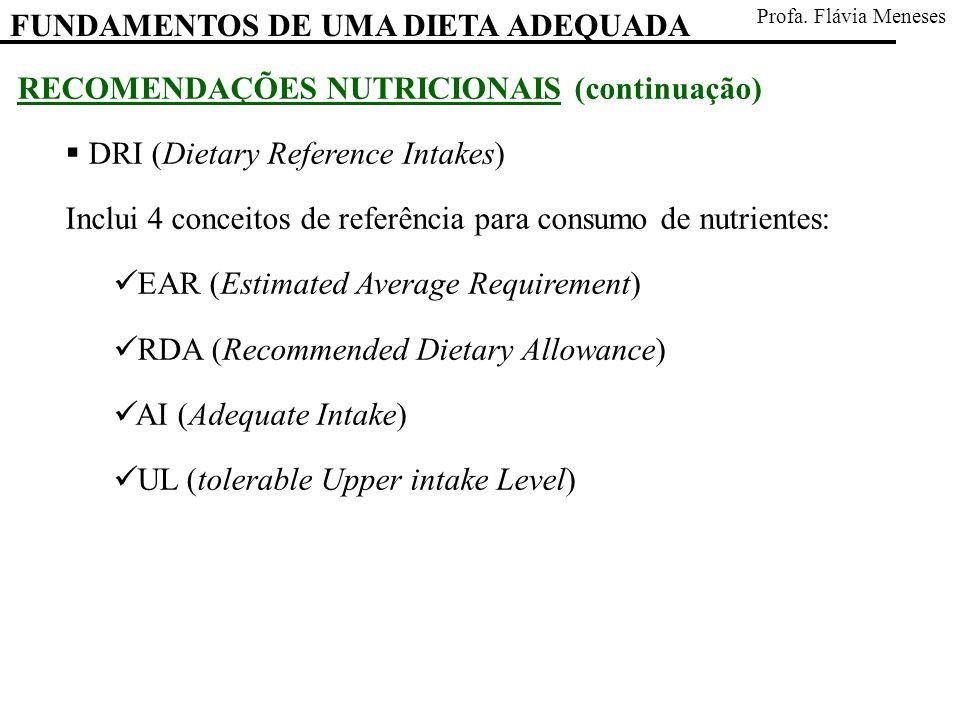 RECOMENDAÇÕES NUTRICIONAIS (continuação) DRI (Dietary Reference Intakes) Inclui 4 conceitos de referência para consumo de nutrientes: EAR (Estimated A