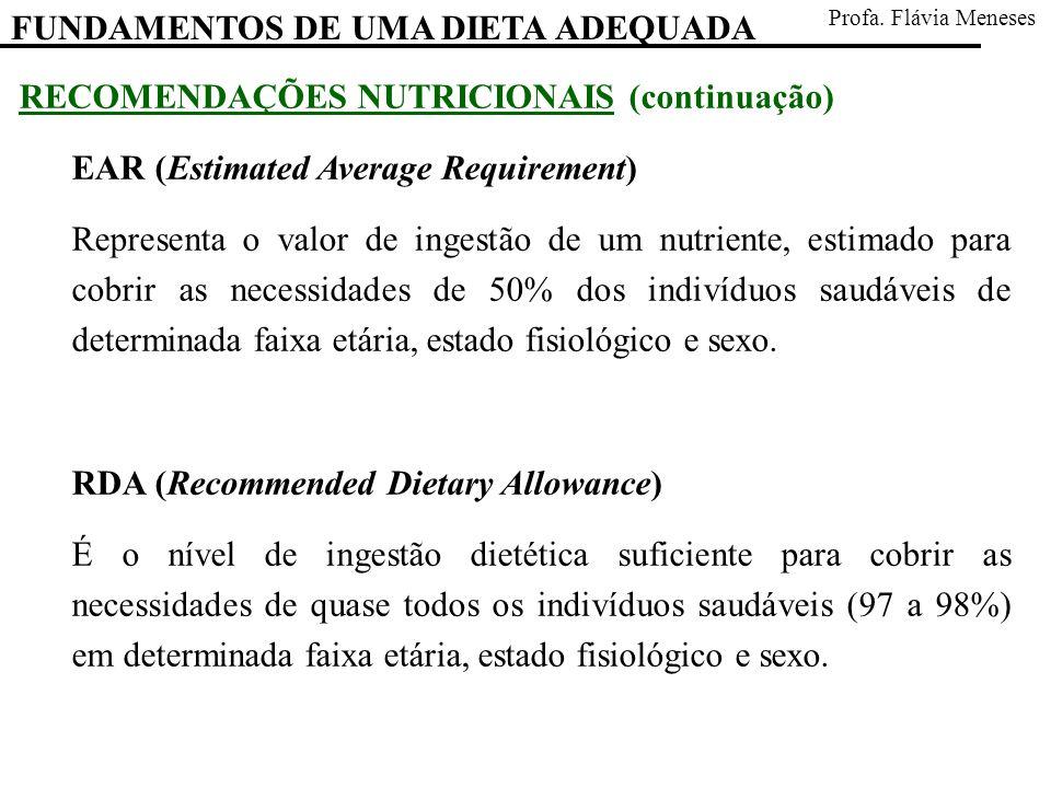 RECOMENDAÇÕES NUTRICIONAIS (continuação) EAR (Estimated Average Requirement) Representa o valor de ingestão de um nutriente, estimado para cobrir as n