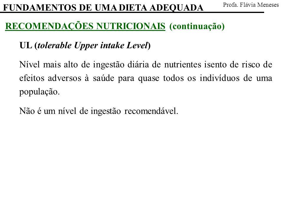 RECOMENDAÇÕES NUTRICIONAIS (continuação) UL (tolerable Upper intake Level) Nível mais alto de ingestão diária de nutrientes isento de risco de efeitos