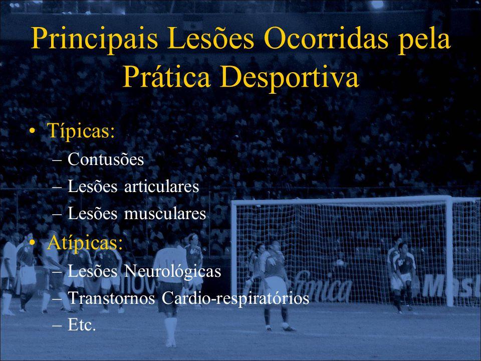 Principais Lesões Ocorridas pela Prática Desportiva Típicas: –Contusões –Lesões articulares –Lesões musculares Atípicas: –Lesões Neurológicas –Transto