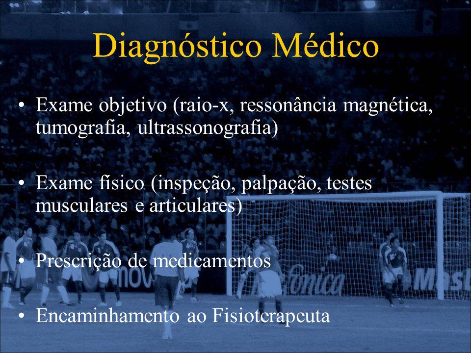 Diagnóstico Médico Exame objetivo (raio-x, ressonância magnética, tumografia, ultrassonografia) Exame físico (inspeção, palpação, testes musculares e