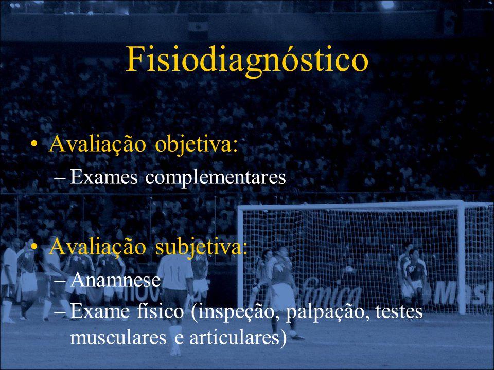 Fisiodiagnóstico Avaliação objetiva: –Exames complementares Avaliação subjetiva: –Anamnese –Exame físico (inspeção, palpação, testes musculares e arti