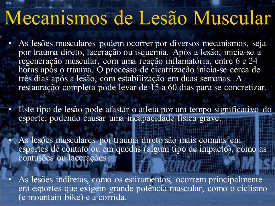 Mecanismos de Lesão Muscular As lesões musculares podem ocorrer por diversos mecanismos, seja por trauma direto, laceração ou isquemia. Após a lesão,