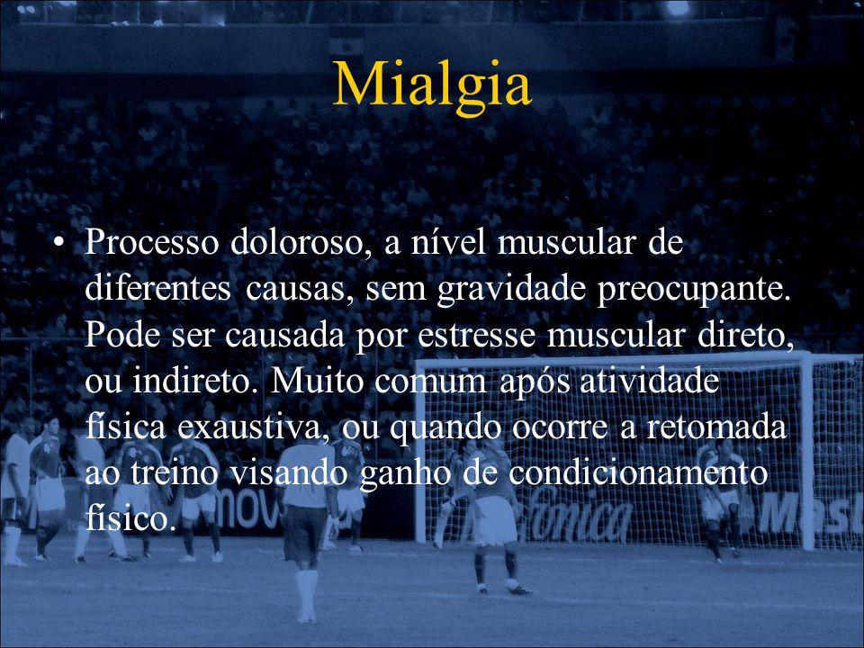 Mialgia Processo doloroso, a nível muscular de diferentes causas, sem gravidade preocupante. Pode ser causada por estresse muscular direto, ou indiret