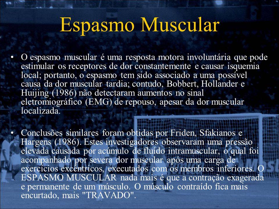 Espasmo Muscular O espasmo muscular é uma resposta motora involuntária que pode estimular os receptores de dor constantemente e causar isquemia local;