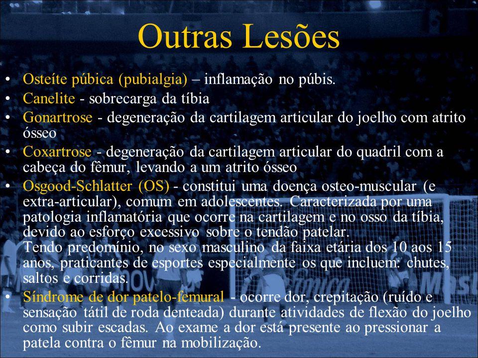 Outras Lesões Osteíte púbica (pubialgia) – inflamação no púbis. Canelite - sobrecarga da tíbia Gonartrose - degeneração da cartilagem articular do joe