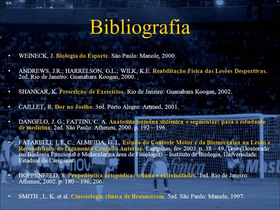 Bibliografia WEINECK, J. Biologia do Esporte. São Paulo: Manole, 2000. ANDREWS, J.R.; HARRELSON, G.L.; WILK, K.E. Reabilitação Física das Lesões Despo